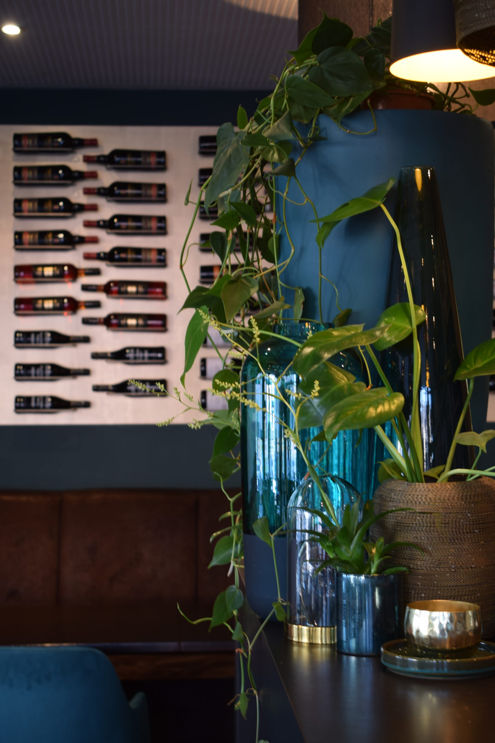 Shot of wine wall and plants